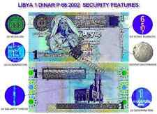 LIBYA 1 DINAR 2002 P 68 UNC Muammar Gaddafi