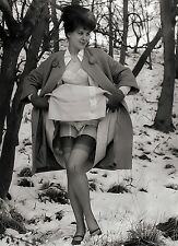 1960s Annette French UK nude Outdoor up skirt snow covered 8 x 10 Photograph