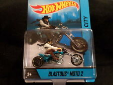 HOT WHEELS MOTORCYCLES BLASTEOUS MOTO2 HW HOTWHEELS BLUE w/REMOVABLE RIDER VHTF