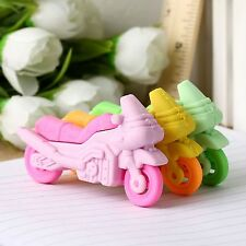 Novelty Motorcycle Style Rubber Eraser Stationary Prize Gift Toy for Kid Student