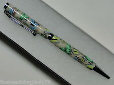 NEW USA Handcrafted Polymer Clay Pen GREEN YELLOW BLUE BUTTERFLIES Med B013