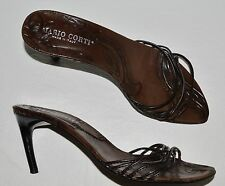 MARIO CORTI SZ 7 M BROWN SLIDES SANDALS MADE IN ITALY
