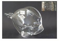 COUPE RINCE CUILLERE POISSON CRISTAL DE VANNES Signé CRYSTAL FISH SHAPE BOWL