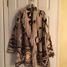 Ralph Lauren Fringe Native Sweater Blanket Southwest Aztec Tribal Cardigan L