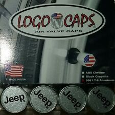 Logo Caps JEEP Black/Silver Logo Tire Air Valve Caps - Brushed Aluminum Finish