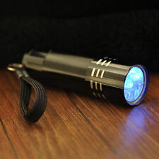 NEW 9LED Aluminium UV Ultra Violet Pen Torch Flash light Black light AAA Lamp UK