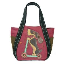 New Chala Handbag Carryall Zip Tote WIENER DOG on Scooter Burgundy Red Canvas