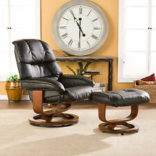 CLC30967 BLACK BONDED LEATHER RECLINER CHAIR WITH OTTOMAN & SIDE TABLE SET