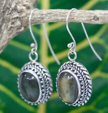 Handmade Solid Sterling Silver 925 Bali Style LG Oval Labradorite Dangle Earring