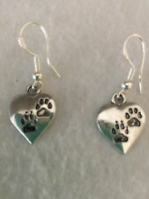 "Cute Silver ""Love My Pet"" Engraved Paw Print Heart Charm Dangle Drop Earrings"