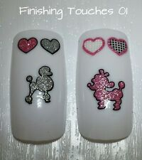 Nail Art Sticker Poodle Decal #208 XK315 Valentine Shiny Pink Silver Glitter Dog