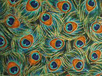 PEACOCK FEATHERS BLUE GREEN METALLIC GOLD FEATHERS COTTON FABRIC FQ