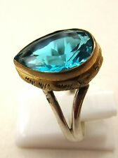 925 Sterling Silver Ring With Natural Blue Topaz Quartz Size Q US 8.25 (rg2277)