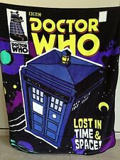 """Dr Who """"Lost in Time & Space!"""" RASCHEL THROW BLANKET (Brand New no tag)"""