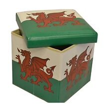 Wales Flag Ottoman Storage Box Cushion Seat Foot Stool Welsh Red Dragon