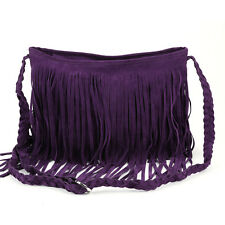 Vintage Purple Fringe Tassel Faux Suede Satchel Shoulder Bag Messenger Crossbody