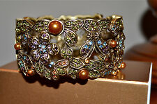 NEW $230 HEIDI DAUS *SECRET GARDEN* Swarovski Crystal CUFF Bangle Bracelet S/M