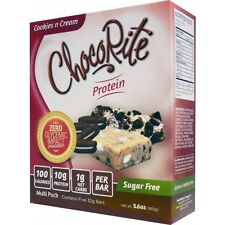 ChocoRite Protein Bars Cookies n Cream - 5 Bars, Low Carb, High Fiber,Sugar Free