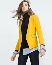 STUNNING ZARA MUSTARD YELLOW BLAZER WITH ZIPPED POCKETS SIZE S UK 8