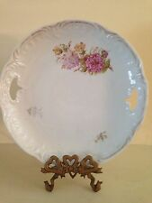 """Vintage 9"""" handled cake plate pink flowers shabby cottage chic"""