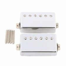 Chrome Alnico 5 Les Paul Humbucker Neck Bridge Pickup Set w/ Metal Braided wire