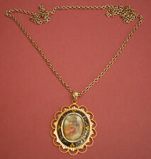 A388) vintage gold metal Spanish damascene glass cameo lovers pendant necklace