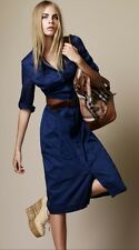 BRAND NEW BURBERRY BRIT BLUE COTTON SHIRT DRESS, UK 10 IT 42 EUR 38