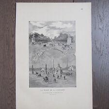 GRAVURE PUBLICITE ANCIENNE 1898 LA PLACE DE LA CONCORDE PARIS