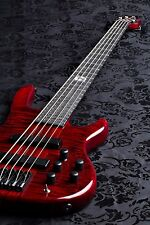 Wolf 5 String jazz bass Transparent Red Bass 2016 w/ Gigbag