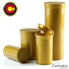 Full Case of 225 - 19 Dram Gold Medical Pop Top Bottle Vial Pill Box Containers