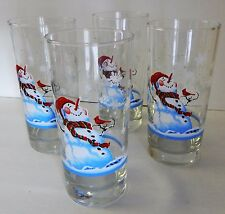 Libby Multi/Color Snowman 4 Old Fashioned Water Glass Christmas Winter Tumbler
