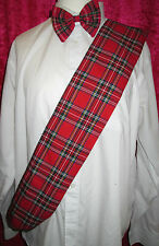 Red Tartan Sash & Bow Tie Burns Night Fancy Dress Scottish Plaid Royal Stewart