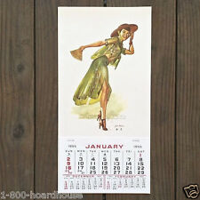 Vintage Original CHINESE PINUP GIRL Sexy GREEN DRESS Pinup Girl Calendar 1955