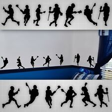 Lacrosse wall decals, LAX boys room silhouette wall stickers, lacrosse decal lot