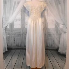Olga Negligee Sz L Ivory Satin & Lace Full Length Gown #92404