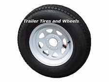 "*2* 205/75D14 LRC ET Bias Trailer Tires on 14"" 5 Lug White Spoke Wheels F78-14"