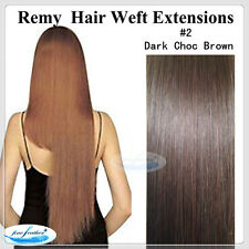 "20"" Remy Human  Hair Extensions Weft #2 Dark Brown"