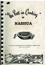 *THE BEST COOKING IN *NASHUA NH 1954 ANTIQUE *UNIVERSALIST COOK BOOK *LOCAL ADS