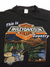 Vintage THIS IS HARLEY DAVIDSON COUNTRY T-Shirt Chattanooga Train Mountains Thin