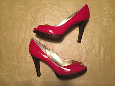 Jessica Simpson Sz 8 B 38 Red Genuine Patent Leather peep toe platform Heels