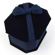 Lot of 10 Dark Navy Blue Velvet Jewelry Ring Boxes