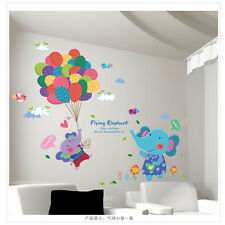 Baby Elephants Wall Sticker Lovely Animals Nursery Decor Colorful Balloon Poster