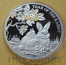 2011 Togo Lunar Year of the Rabbit 1 Oz Silver Coin Chinese Zodiac Proof Gilded