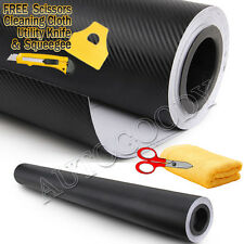 "84"" x 60"" Black Carbon Fiber Vinyl Wrap 3D Bubble Free Air Release 7ft x 5ft"
