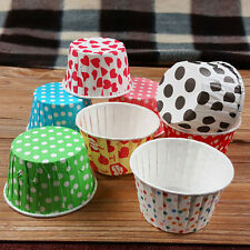 100pcs Colorful Paper Cupcake Greaseproof Liner Muffin Cases Dessert Baking Cups