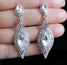 BRIDAL AUSTRIAN CRYSTAL RHINESTONE SILVER CHANDELIER DANGLE EARRINGS GIFT E2087