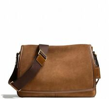 NWT COACH BLEECKER SUEDE LEATHER COURIER MESSENGER BAG BRASS FAWN F71081