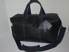 """Kenneth Cole It's A Duff Choice Black Deluxe Leather 20"""" Carry On Duffel $425"""