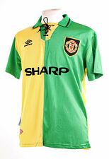 MANCHESTER UNITED NEWTON HEATH 1993-94 GREEN YELLOW REPLICA FOOTBALL SHIRT L NEW