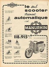 Publicité 1959  MANURHIN le seul scooter vraiment automatique
